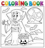 Χρωματίζοντας βιβλίο με το βαμπίρ αποκριών Στοκ εικόνα με δικαίωμα ελεύθερης χρήσης
