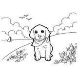 Χρωματίζοντας βιβλίο με το σκυλί Στοκ Φωτογραφίες