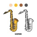 Χρωματίζοντας βιβλίο: μουσικά όργανα (saxophone) Στοκ εικόνα με δικαίωμα ελεύθερης χρήσης