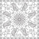 Χρωματίζοντας βιβλίο σελίδων για ενηλίκων την τετραγωνική διανυσματική απεικόνιση σχεδίου πεταλούδων Mandala σχήματος Floral Στοκ Εικόνα