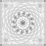 Χρωματίζοντας βιβλίο σελίδων για ενηλίκων την τετραγωνική διανυσματική απεικόνιση σχεδίου λουλουδιών σχήματος γεωμετρική σπειροει Στοκ Φωτογραφία