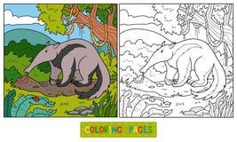 Χρωματίζοντας βιβλίο (anteater) ελεύθερη απεικόνιση δικαιώματος