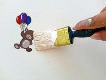 Χρωματίζοντας βούρτσα και κινούμενα σχέδια Στοκ φωτογραφία με δικαίωμα ελεύθερης χρήσης