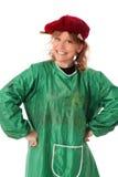Χρωματίζοντας γυναίκα στο καπέλο και την πράσινη κάλυψη Στοκ Εικόνες