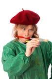 Χρωματίζοντας γυναίκα στο καπέλο και την πράσινη κάλυψη Στοκ φωτογραφίες με δικαίωμα ελεύθερης χρήσης