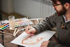 Χρωματίζοντας γυναίκα Στοκ Φωτογραφίες