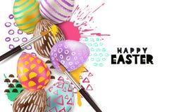 Χρωματίζοντας διανυσματική απεικόνιση αυγών Πάσχας τρισδιάστατο διακοσμητικό αυγό στο υπόβαθρο παφλασμών watercolor Έννοια τέχνης διανυσματική απεικόνιση