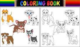 Χρωματίζοντας κινούμενα σχέδια κατοικίδιων ζώων βιβλίων Στοκ Εικόνα