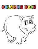 Χρωματίζοντας κινούμενα σχέδια hippopotamus βιβλίων Στοκ Φωτογραφίες