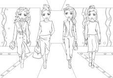 Χρωματίζοντας κορίτσια βιβλίων στα κοστούμια στο διάδρομο διανυσματική απεικόνιση
