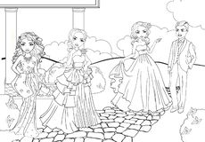 Χρωματίζοντας κορίτσια βιβλίων στα φορέματα σφαιρών στο πάρκο διανυσματική απεικόνιση