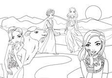 Χρωματίζοντας κορίτσια βιβλίων στην έρημο με την καμήλα ελεύθερη απεικόνιση δικαιώματος