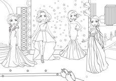 Χρωματίζοντας κορίτσια βιβλίων στο κόκκινο χαλί στη πρεμιέρα διανυσματική απεικόνιση
