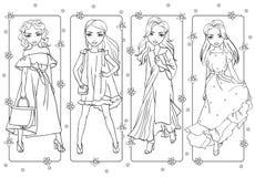 Χρωματίζοντας κορίτσια στα ρομαντικά θερινά φορέματα απεικόνιση αποθεμάτων