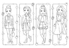 Χρωματίζοντας κορίτσια στο σχολείο ή το σπουδαστή ομοιόμορφο διανυσματική απεικόνιση