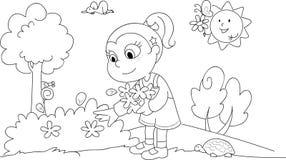 Χρωματίζοντας κορίτσι την άνοιξη Στοκ Εικόνες