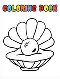 Χρωματίζοντας κοχύλι βιβλίων με τα κινούμενα σχέδια μαργαριταριών Στοκ Εικόνες