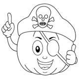 Χρωματίζοντας κολοκύθα πειρατών με το καπέλο μπαλωμάτων ματιών Στοκ Εικόνες