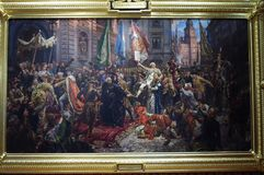 Χρωματίζοντας μέχρι τον Ιανουάριο Matejko το σύνταγμα της 3ης Μαΐου 1791 Στοκ Εικόνες