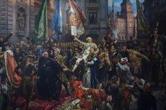 Χρωματίζοντας μέχρι τον Ιανουάριο Matejko το σύνταγμα της 3ης Μαΐου 1791 Στοκ Φωτογραφία