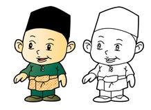 Χρωματίζοντας μουσουλμανικό αγόρι Melayu - διανυσματική απεικόνιση Στοκ Εικόνες