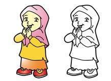 Χρωματίζοντας μουσουλμανικό κορίτσι Melayu - διανυσματική απεικόνιση Στοκ φωτογραφία με δικαίωμα ελεύθερης χρήσης