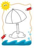 χρωματίζοντας ομπρέλα θάλασσας βιβλίων Στοκ εικόνες με δικαίωμα ελεύθερης χρήσης