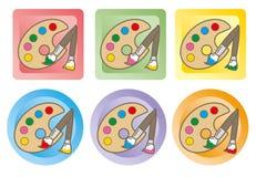 Χρωματίζοντας παλέτα και βούρτσα - σύνολο εικονιδίων απεικόνιση αποθεμάτων