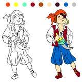 Χρωματίζοντας πειρατής παιχνιδιού παιδιών βιβλίων Στοκ Εικόνα