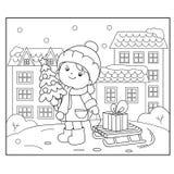 Χρωματίζοντας περίληψη σελίδων του κοριτσιού με τα δώρα στο χριστουγεννιάτικο δέντρο Χριστούγεννα νέο έτος Χρωματίζοντας βιβλίο γ ελεύθερη απεικόνιση δικαιώματος