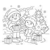 Χρωματίζοντας περίληψη σελίδων των παιδιών με τα δώρα στο χριστουγεννιάτικο δέντρο Χριστούγεννα νέο έτος Χρωματίζοντας βιβλίο για ελεύθερη απεικόνιση δικαιώματος