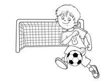 Χρωματίζοντας περίληψη σελίδων ενός αγοριού ποδοσφαίρου Διανυσματική απεικόνιση