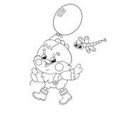 Χρωματίζοντας περίληψη σελίδων ενός ευτυχούς κοτόπουλου που περπατά με ένα μπαλόνι Ελεύθερη απεικόνιση δικαιώματος