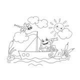 Χρωματίζοντας περίληψη σελίδων ενός ευχάριστα βατράχου που επιπλέει σε μια βάρκα Ελεύθερη απεικόνιση δικαιώματος