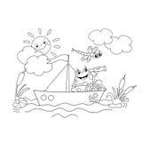 Χρωματίζοντας περίληψη σελίδων ενός ευχάριστα βατράχου που επιπλέει σε μια βάρκα Διανυσματική απεικόνιση