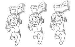 Χρωματίζοντας περίληψη σελίδων ενός πηδώντας κοριτσιού κινούμενων σχεδίων Απεικόνιση αποθεμάτων