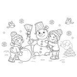 Χρωματίζοντας περίληψη σελίδων του αγοριού κινούμενων σχεδίων με το κορίτσι που κάνει το χιονάνθρωπο απεικόνιση αποθεμάτων
