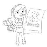 Χρωματίζοντας περίληψη σελίδων του κοριτσιού με τα λουλούδια 8 Μαρτίου Διανυσματική απεικόνιση