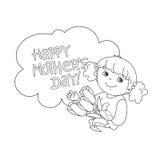 Χρωματίζοντας περίληψη σελίδων του κοριτσιού με τα λουλούδια μητέρα s ημέρας Διανυσματική απεικόνιση