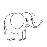 Χρωματίζοντας περίληψη σελίδων του συμπαθητικού μικρού ελέφαντα Στοκ Φωτογραφίες