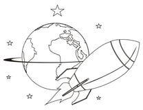 Χρωματίζοντας πύραυλος με έναν πλανήτη διανυσματική απεικόνιση