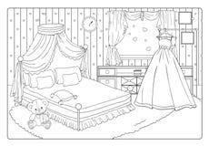 Χρωματίζοντας ρομαντικό νύφη βιβλίων ή δωμάτιο πριγκηπισσών απεικόνιση αποθεμάτων