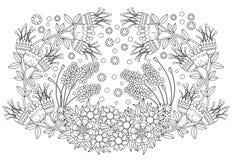 Χρωματίζοντας σελίδα βιβλίων για τον ενήλικο και τα παιδιά Χαριτωμένη σύνθεση doodle με τα αφηρημένα λουλούδια και τα φύλλα στοκ εικόνες
