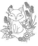 Χρωματίζοντας σελίδα βιβλίων για τον ενήλικο και τα παιδιά Χαριτωμένος λίγη αλεπού κινούμενων σχεδίων με τα αφηρημένα λουλούδια κ στοκ εικόνα