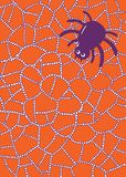 Χρωματίζοντας σελίδα με την αράχνη και Ιστός στα waterdrops ή τις σταγόνες βροχής Στοκ Φωτογραφία