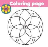 Χρωματίζοντας σελίδα με την αφηρημένη μορφή λουλουδιών Παιχνίδι παιδιών σχεδίων Εκτυπώσιμη δραστηριότητα Στοκ εικόνες με δικαίωμα ελεύθερης χρήσης