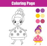 Χρωματίζοντας σελίδα με τη χαριτωμένη πριγκήπισσα Εκπαιδευτικό παιχνίδι για τα παιδιά ελεύθερη απεικόνιση δικαιώματος