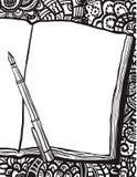 Χρωματίζοντας σελίδα με το σημειωματάριο, τη μάνδρα και doodle το BG διανυσματική απεικόνιση