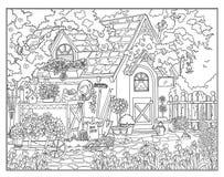 Χρωματίζοντας σελίδα ο μυστικός κήπος διανυσματική απεικόνιση