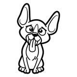 Χρωματίζοντας σελίδα χαρακτήρα κινουμένων σχεδίων σκυλιών γραπτή στοκ φωτογραφία με δικαίωμα ελεύθερης χρήσης